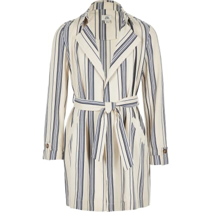 Girls navy stripe trench coat