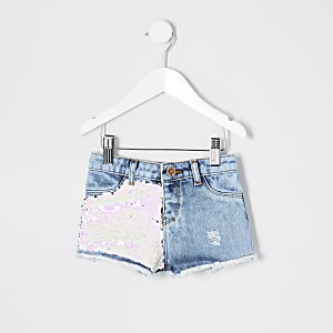 Mini girls blue sequin denim shorts