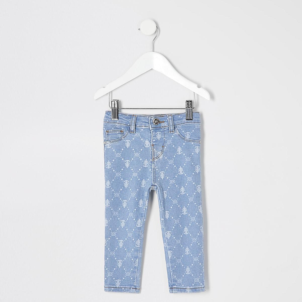 cb819e4f62b03 Mini girls blue Molly RI printed jeggings - Baby Girls Jeans - Baby Girls  Bottoms - Mini Girls - girls
