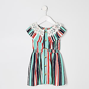 Mini girls blue stripe broiderie dress