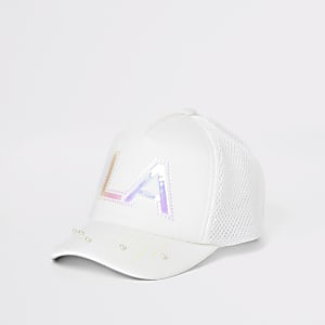 Girls white holographic print cap