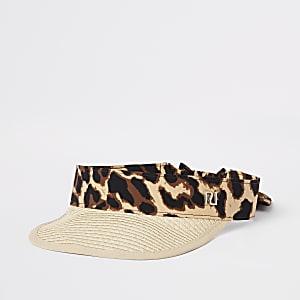 Bruine visor pet met stro en luipaardprint voor meisjes