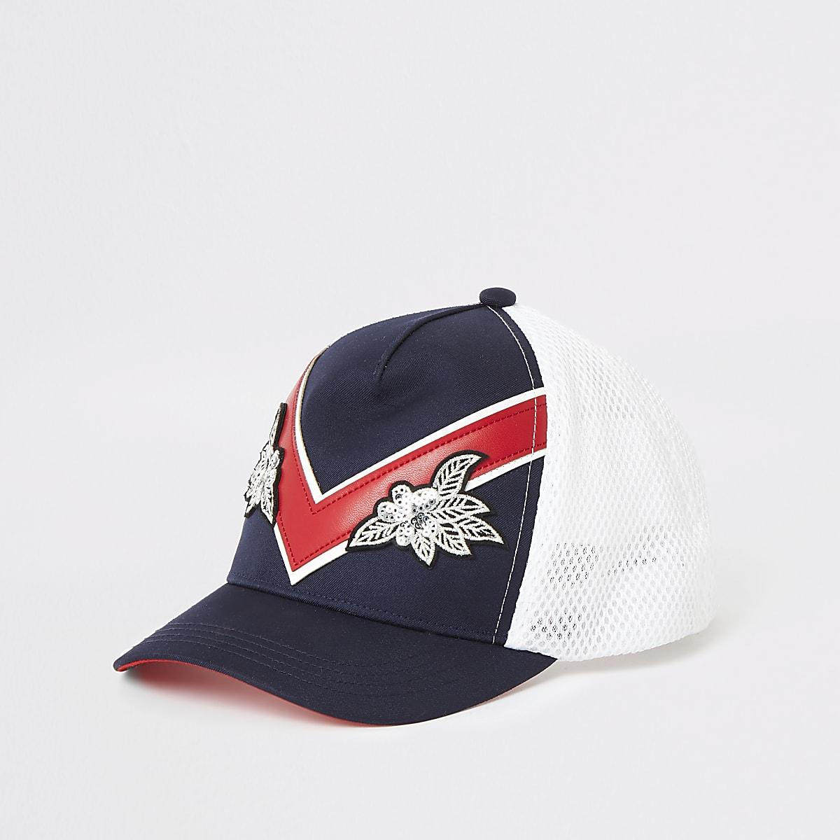 Girls navy chevron cap