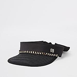 Zwarte visor pet met stro voor meisjes