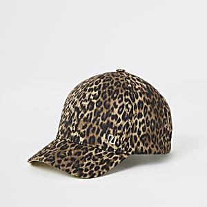 Girls brown leopard print cap