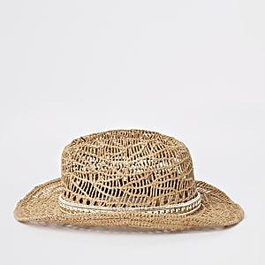 Chapeau de paille marron orné de clous pour fille