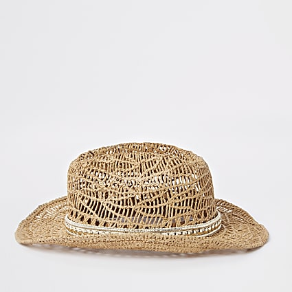 Girls brown stud embellished straw hat