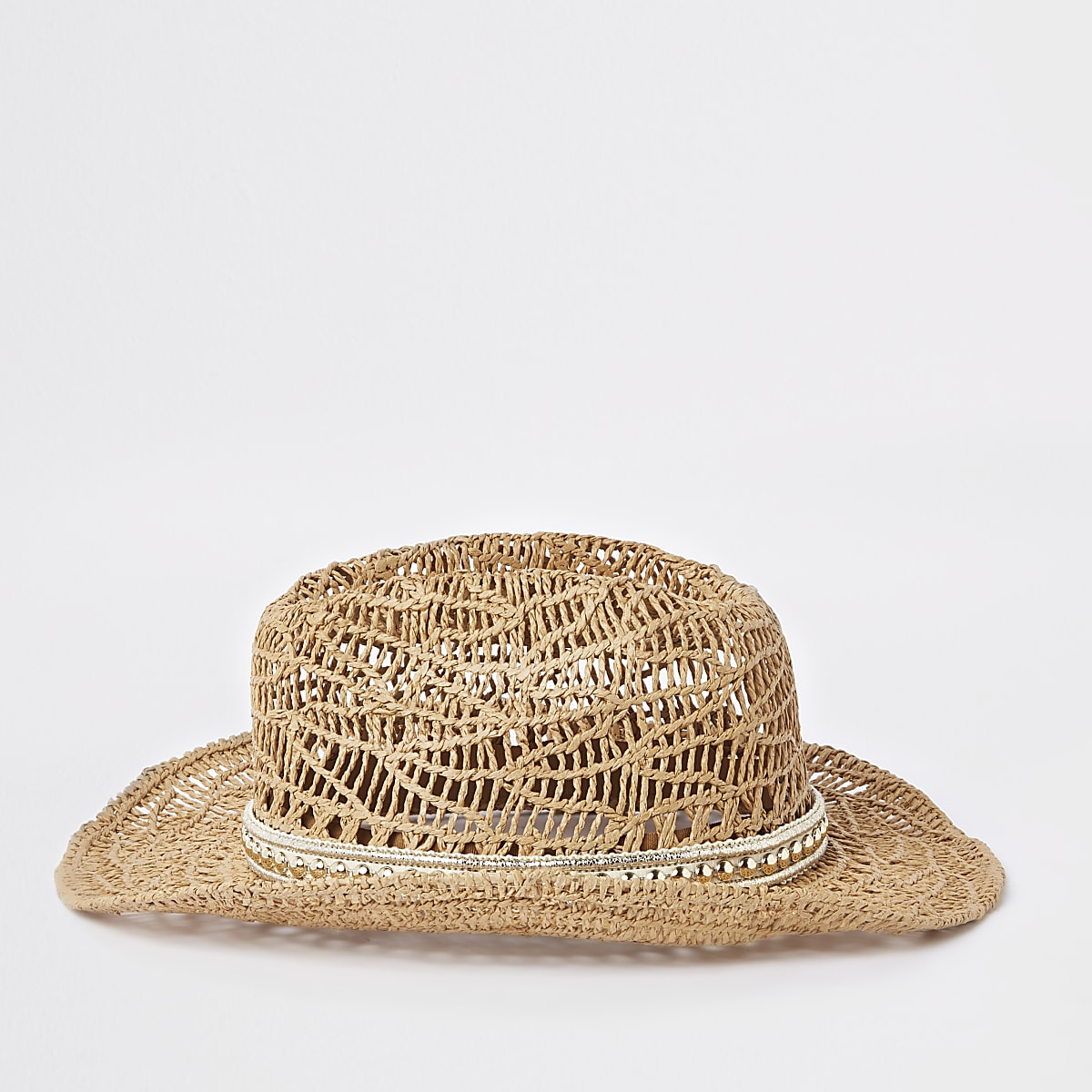Girls brown stud embellished straw hat