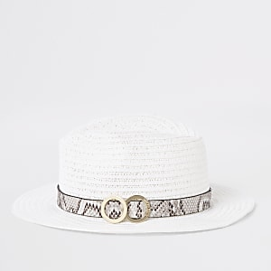 Girls white snake trim straw hat
