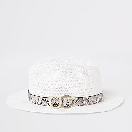 Girls white snake trim straw hat