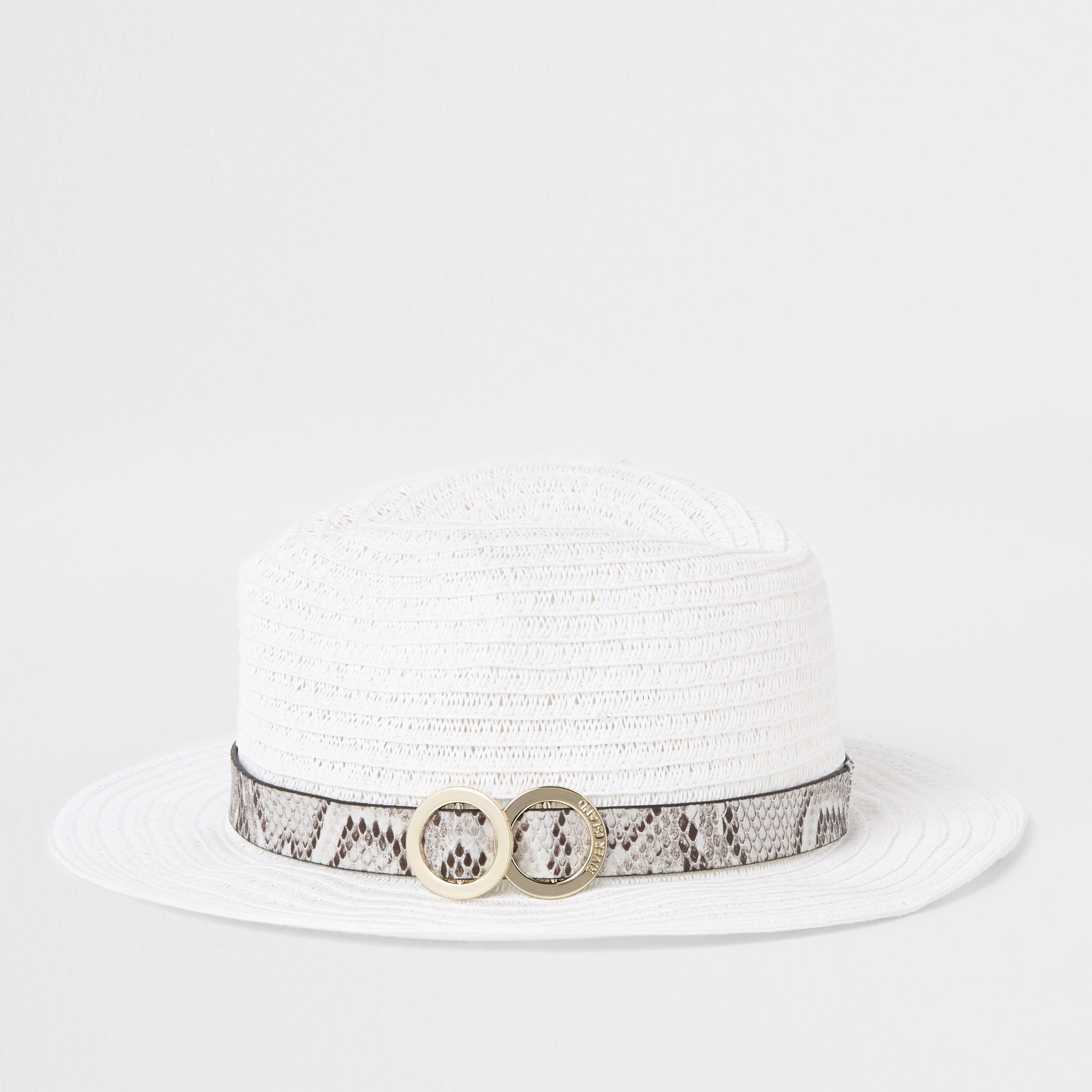 RIVER ISLAND | Girls White Snake Trim Straw Hat | Goxip