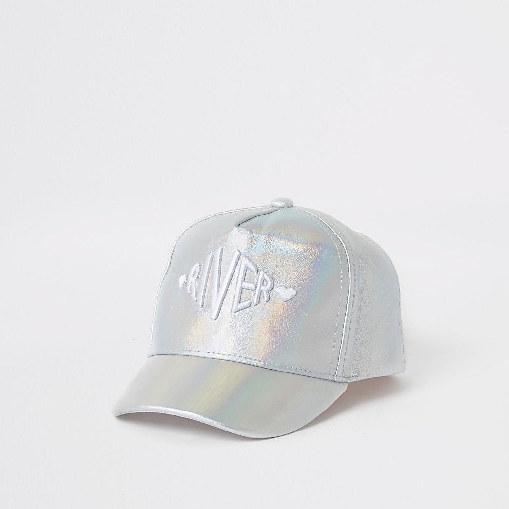 Mini girls silver RI holographic cap