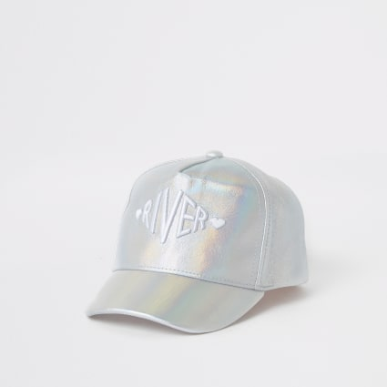 Mini girls silver RI holographic cap