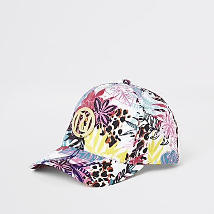 Mini girls pink floral cap
