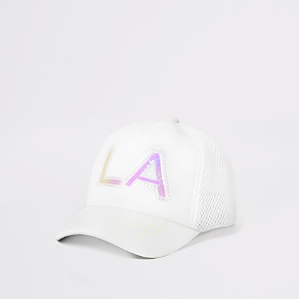 Mini girls white holographic print cap