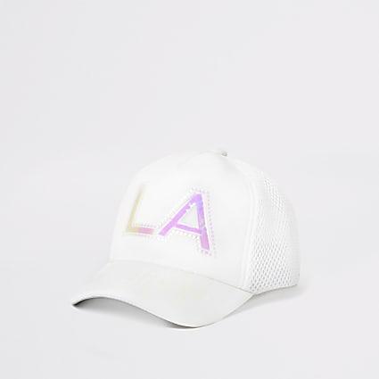 Mini girls white holographic print cap