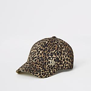 Braune Kappe mit Leoparden-Print