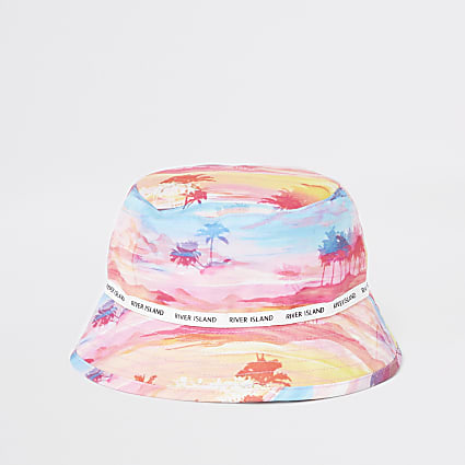 Mini girls pink palm print bucket hat