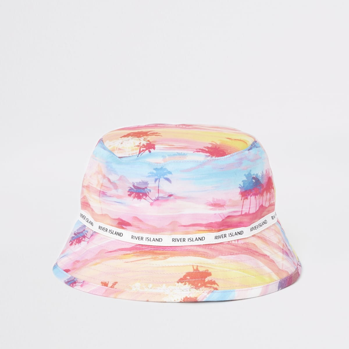 Mini girls pink palm print bucket hat