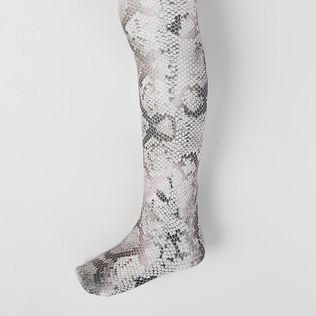 Bruine meisjesmaillot met slangenleerprint