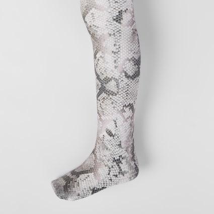 Girls brown snake print tights