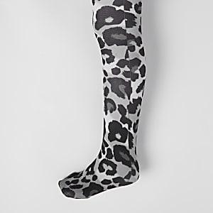 Graue Strumpfhose mit Leoparden-Print