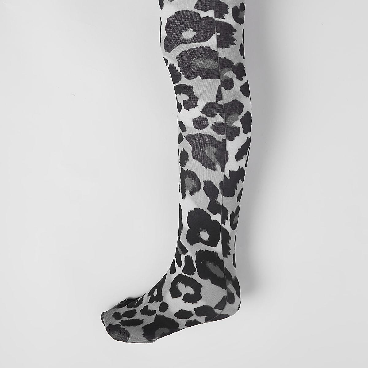 Collant imprimé léopard gris pour fille