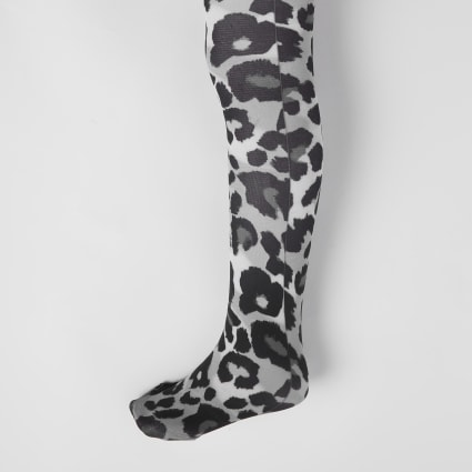 Girls grey leopard print tights