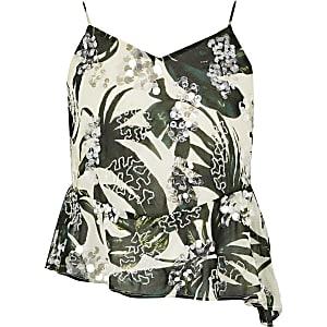 Groene camitop met palmboomprint en pailletten voor meisjes