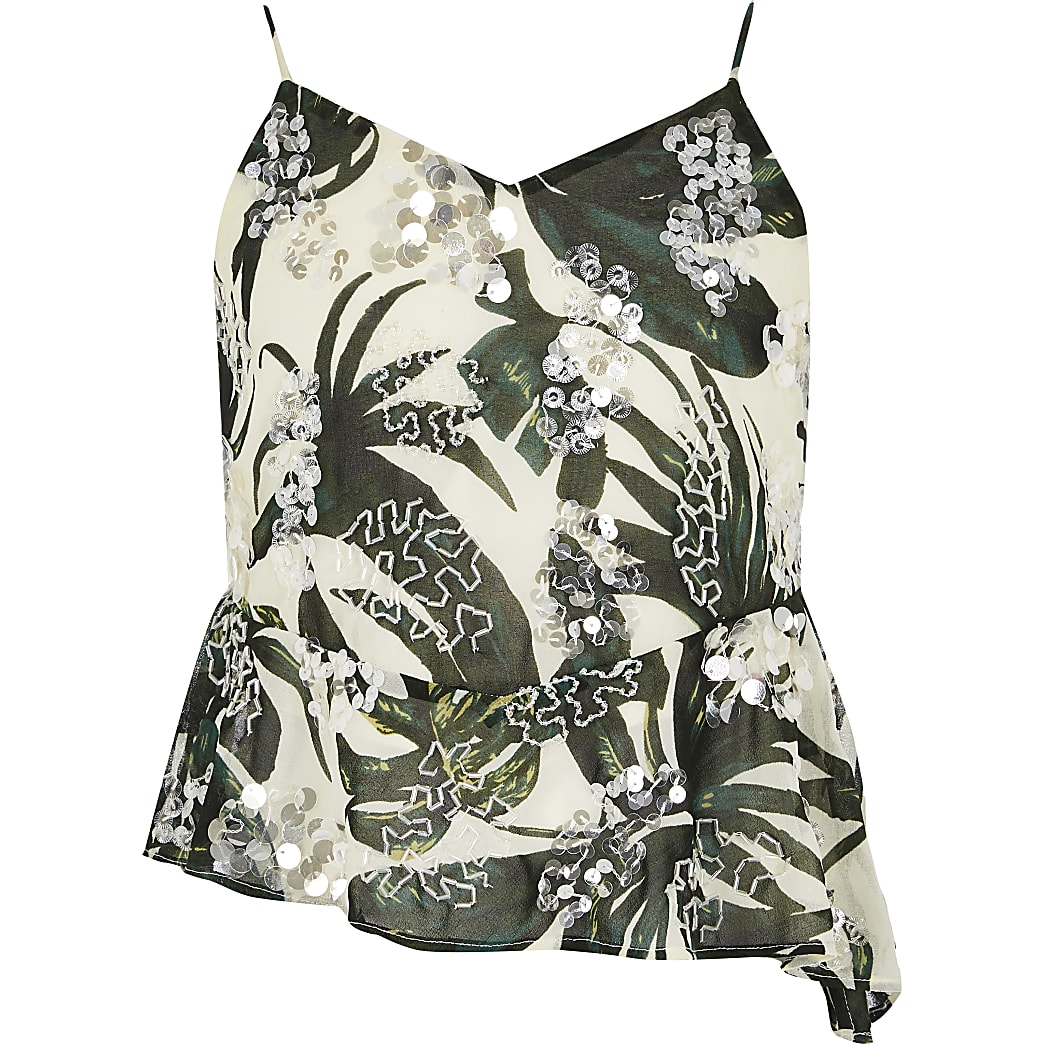 Girls green palm print sequin cami top