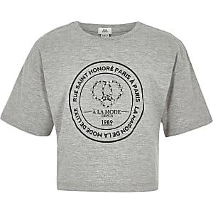 Girls grey circle embellished T-shirt