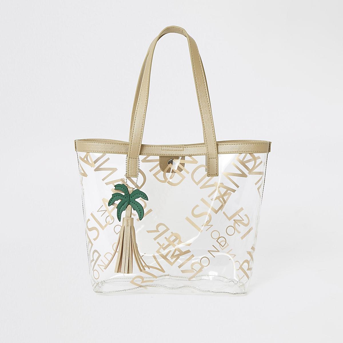Girls gold perspex RI shopper bag
