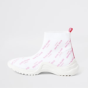 Girls white RI sock sneakers