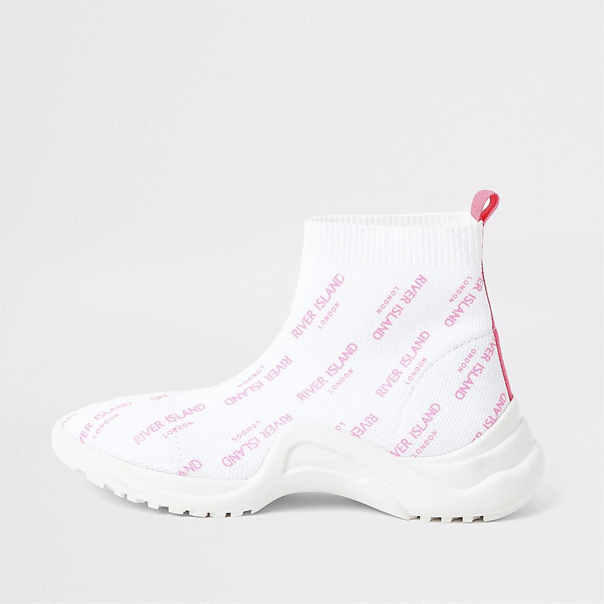 Girls white RI sock sneakers