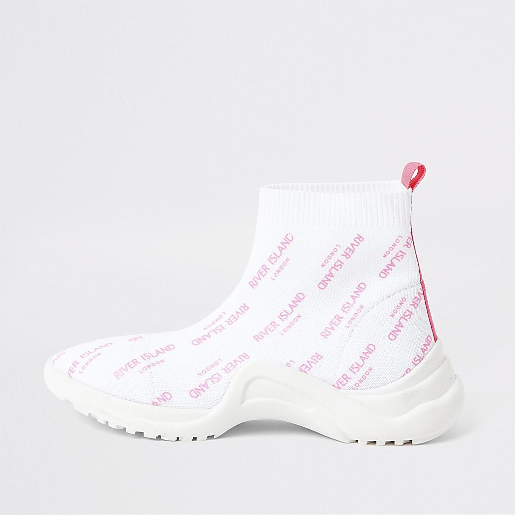 Girls white RI sock trainers