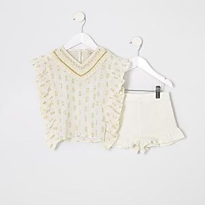 Mini girls cream caftan outfit