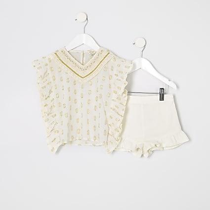 Mini girls cream kaftan outfit
