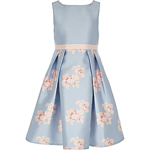 Girls Chi Chi London blue floral Orelia dress