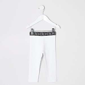 Mini girls white leggings