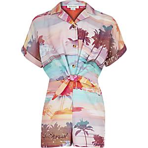Combi-short avec chemise hawaïenne rose pour fille