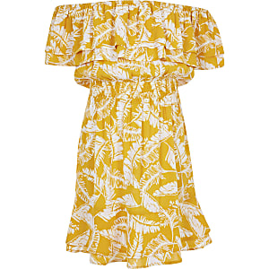 Girls yellow palm print bardot dress