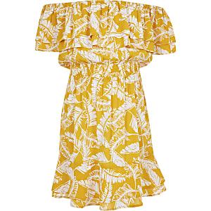 Gele bardotjurk met palmboomprint voor meisjes