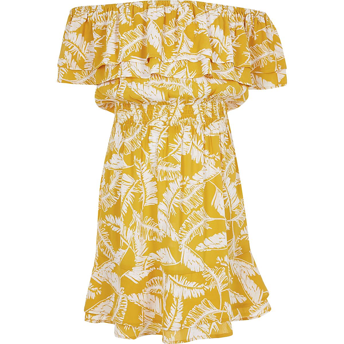 Girls yellow palm print bardot dress