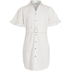 Girls white broderie shirt dress