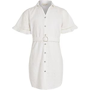 Weißes Blusenkleid mit Lochstickerei