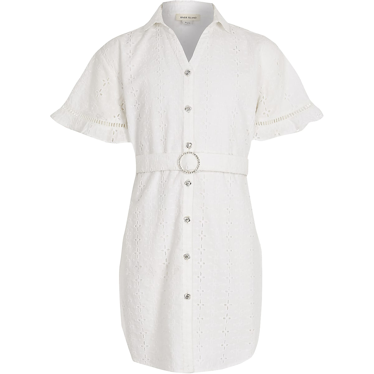 788178da0a1 Girls white broderie shirt dress - Day Dresses - Dresses - girls