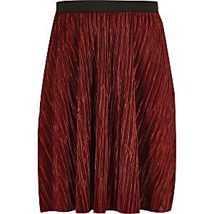 Girls rust plisse skirt