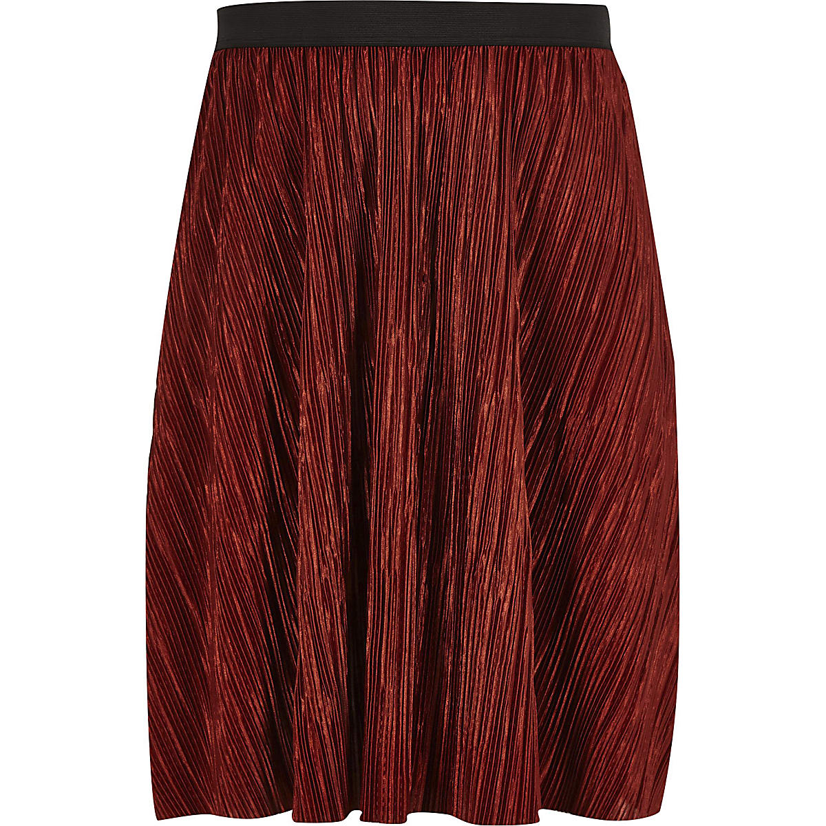 Girls rust plisse skirt