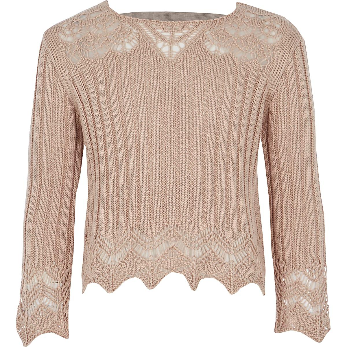 Girls pink crotchet wide sleeve top