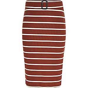 Girls rust stripe tube skirt